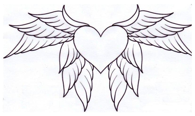 heart with wings coloring page free printable coloring pages - 700×402
